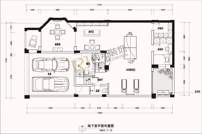 别墅一楼平面效果图 兄弟双拼别墅平面设计图 别墅庭院cad