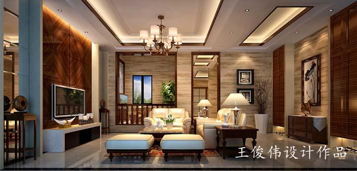 天池湾450平方空中别墅中式混搭风格设计 润邦装饰无锡公司