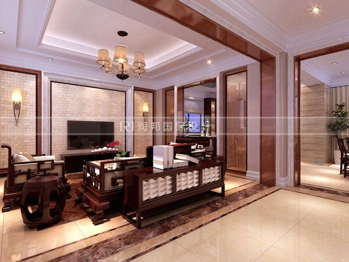 龙湖滟澜山独栋350平米现代中式无锡润邦装饰