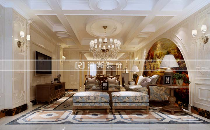 金科米兰米兰二期248平方一楼复式户型美式风格 润邦装饰设计作品