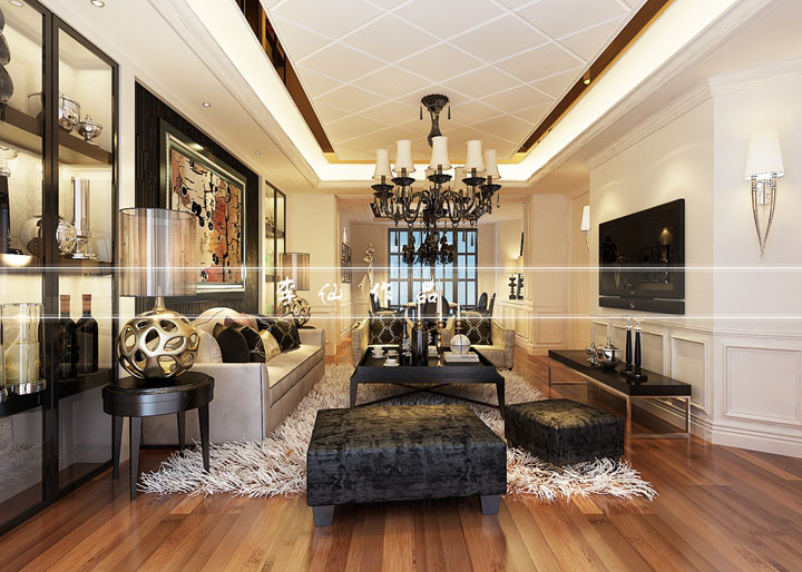 蠡湖香谢192平方新古典风格设计效果图 无锡润邦装饰
