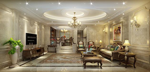 绿地原樽联排400平方新古典风格豪宅设计无锡润邦装饰