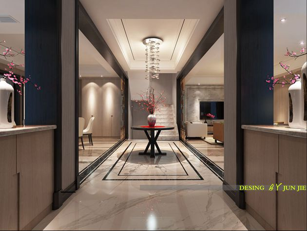 龙湖滟澜山350平方底楼复式洋房现代简约风格