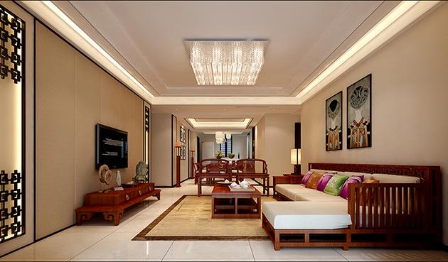 保利香槟国际160平米中式风格无锡装修无锡装饰效果