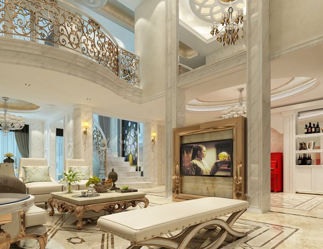 太湖国际十一峰270平方顶楼复式欧式风格 润邦装饰无锡公司