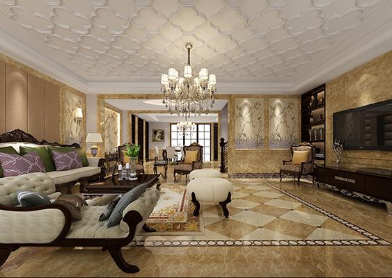龙湖滟澜山下叠边套A2户型255平米欧式风格无锡润邦装饰