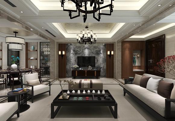 鸿山尚院258平方新中式风格