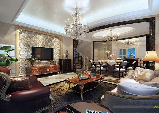 龙湖滟澜山300平米欧式风格下叠别墅无锡润邦装饰设计师作品