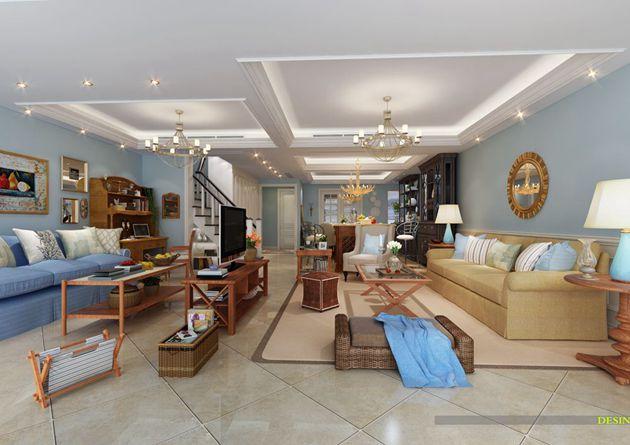 龙湖滟澜山上叠270平米美式风格润邦装饰无锡公司