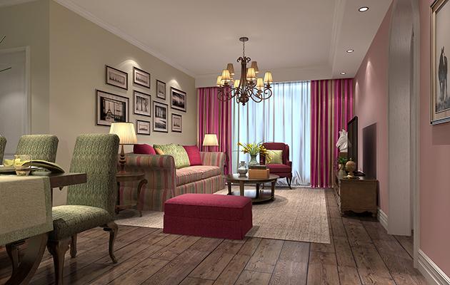 金科世界城130平方现代时尚美式风格 润邦装饰无锡公司