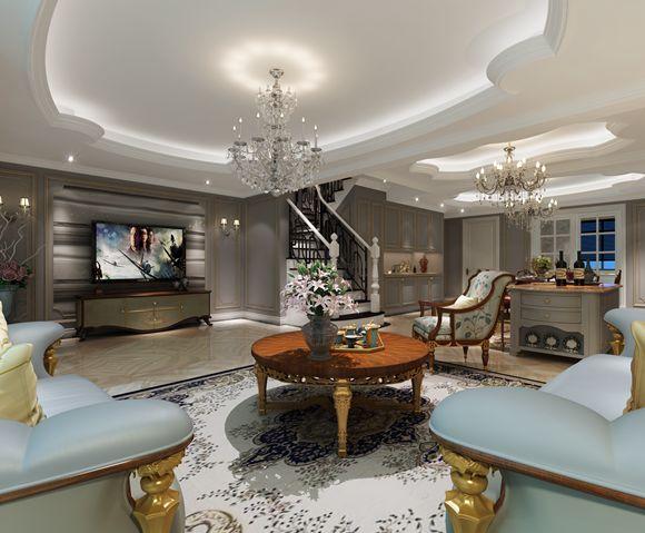 龙湖香颂上叠300平方欧式风格设计案例