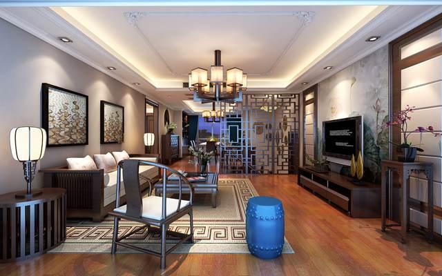 太湖锦园360平方复式户型新中式风格设计案例