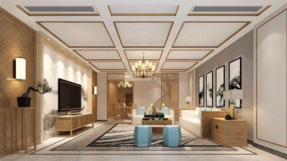 华夏世纪景园300�O 联排别墅平方新中式风格设计案例
