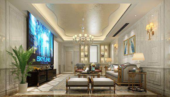 """设计师: 唐 堂 设计风格:现代欧式 房屋状况:联排别墅 空间面积:430平米  主要建材:灰色大理石、木纹护墙面、不锈钢面、银箔,硬包      本案是一个430平米、南北通透的别墅户型,设计师采用传统的""""欧式""""设计风格来彰显空间的豪华。客餐厅的连贯性是最大的缺陷因太长而不够独立,所以设计师在餐厅与客厅的分界处设计一组装饰性极强的组合式柱体,不仅分割过长空间而且也保证相互的独立而不分离,另一形式感更强! 沙发背面空间用作活动区域,这样不仅便于互动也为原本纵向的不合理的狭长客厅改成更加舒服的横向空间!"""