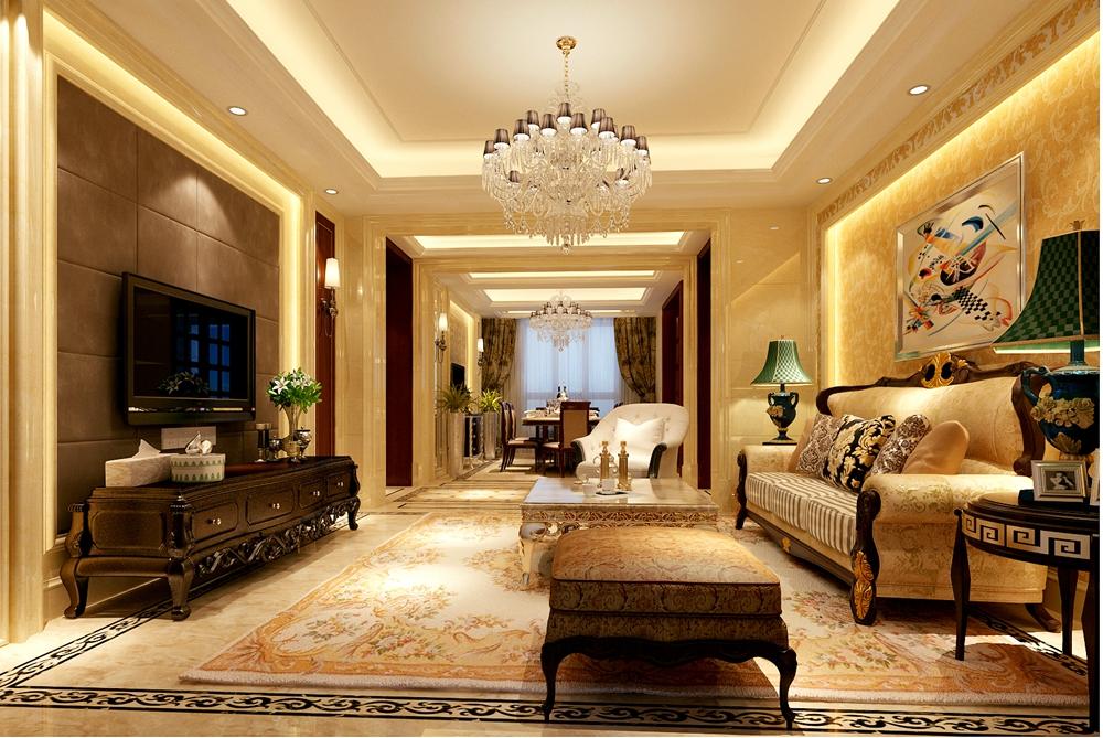 保利香槟国际146平欧式奢华风格无锡润邦装饰