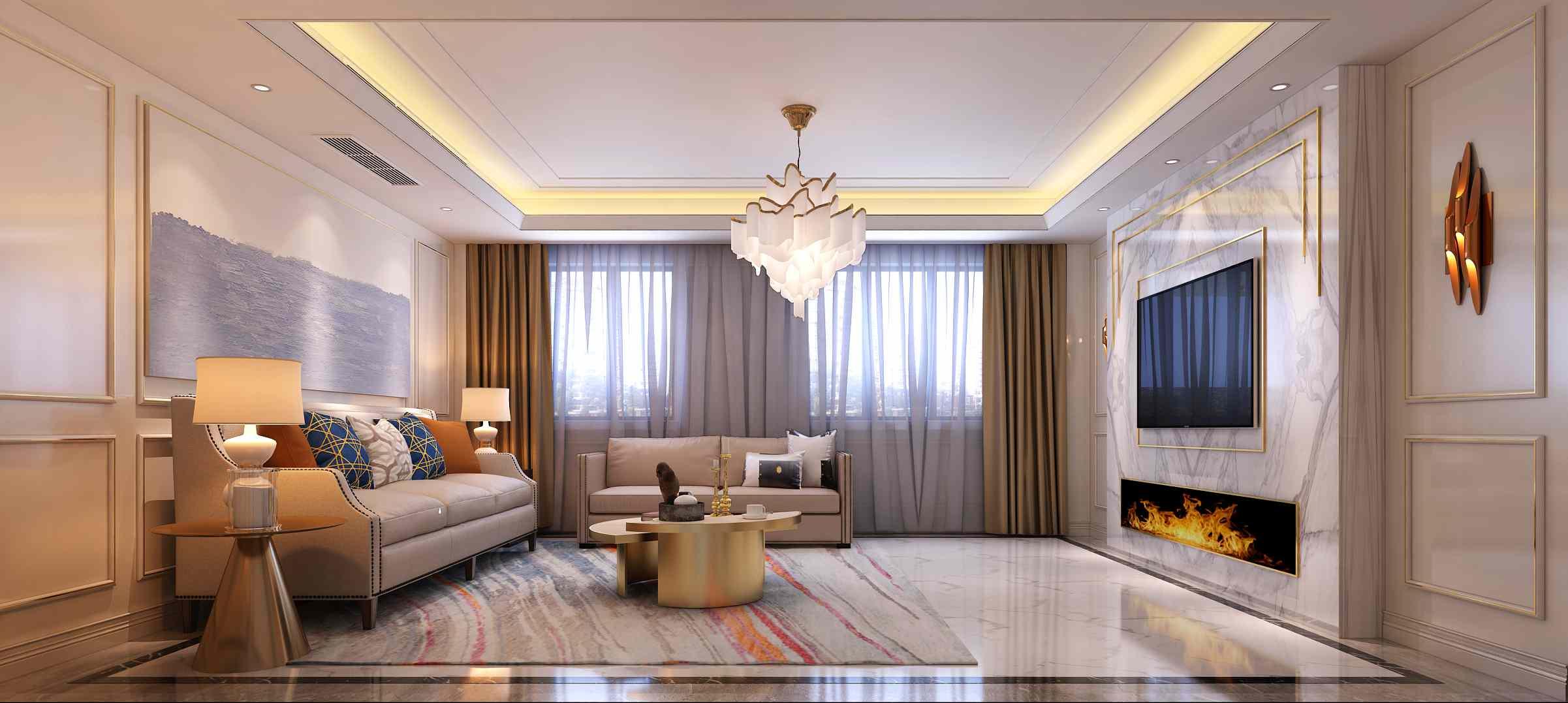 太平洋城中城联排别墅欧式轻奢风格案例赏析
