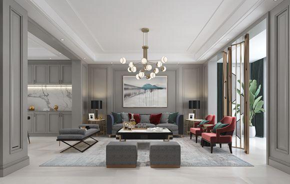 龙湖滟澜山380㎡联排别墅现代轻奢设计案例
