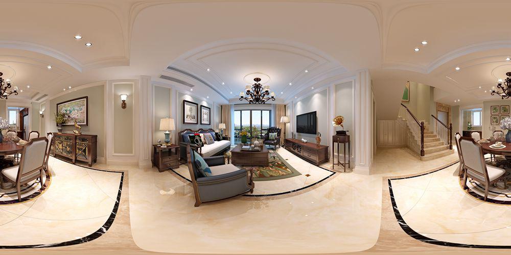 观湖铂庭260平方美式风格设计案例