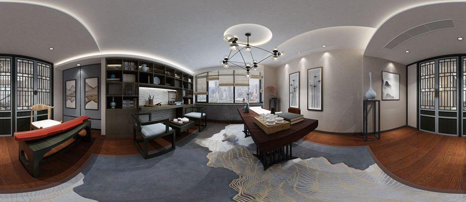润邦别墅装饰:春江花园顶楼复式300�O中式风格全景设计案例